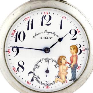 DOXA. Reloj Erótico de bolsillo, lepine y remontoir. Automatón. Ca. 1906.